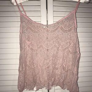 Tops - Pale Pink Crochet Tank Top Juniors Size XS